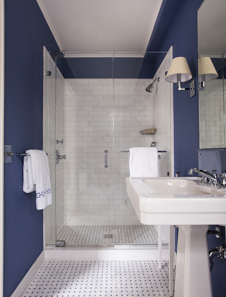 decorated blue walled bathroom