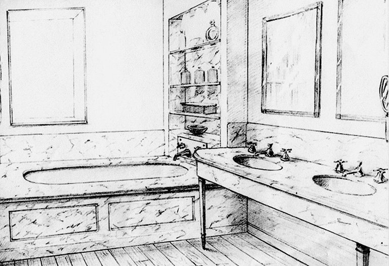 sketch mock-up of dual sink bathroom